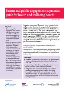 Patient and public engagement: a practical guide for health and wellbeing boards