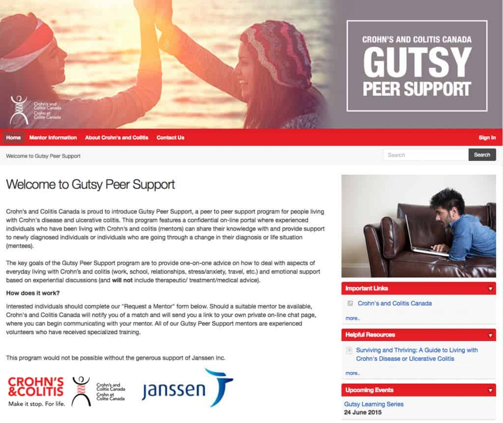 Gutsy Peer Support - Chrohn's & Colitis Canada's peer to peer support platform