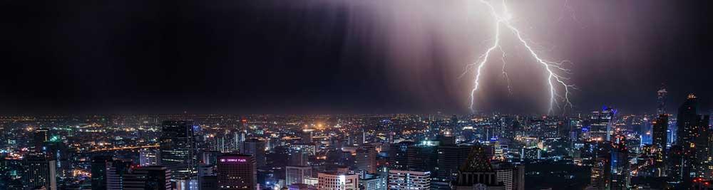 lightning over a city