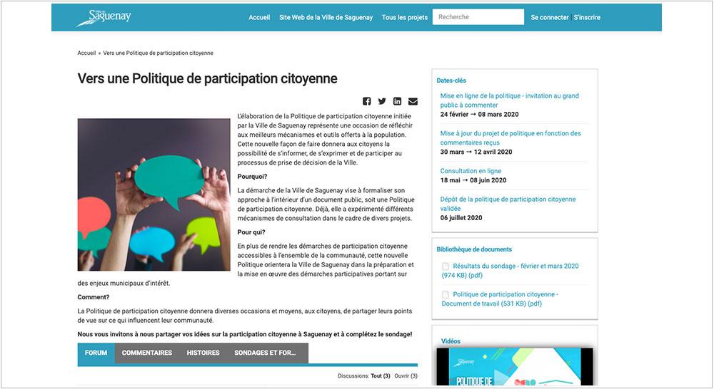 Vers une politique de participation citoyenne, Ville de Saguenay
