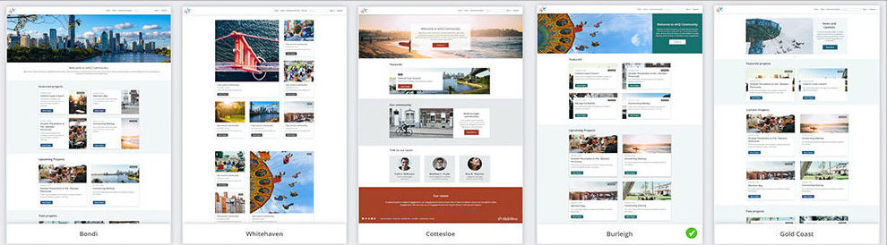 Template styles available in Homepage Editor