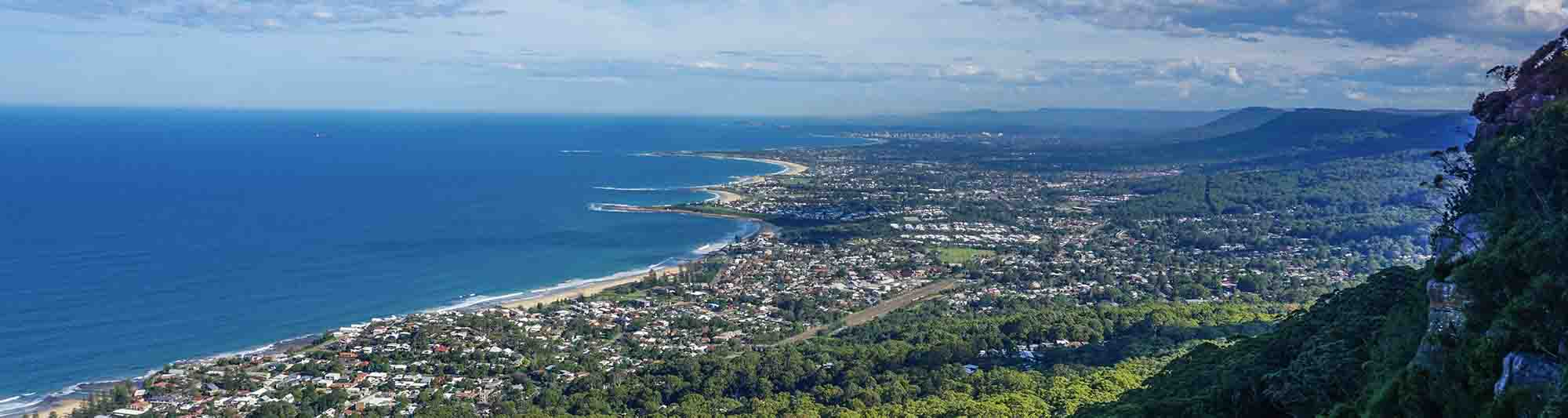 aerial view of wollongong