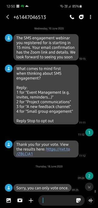 screenshot of text reminder